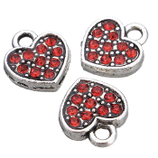 Red Heart Charm RED Rhinestone Antique Silver Double Sided