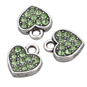 Red Heart Charm Green Rhinestone Antique Silver Double Sided