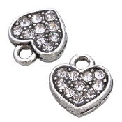 CLEAR Rhinestone Heart Charm Antique Silver Double Sided