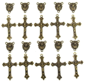 Beautiful Bronze Finish Rosary Parts 10 sets Rosary Part Bronze Finish Crucifix and centerpiece