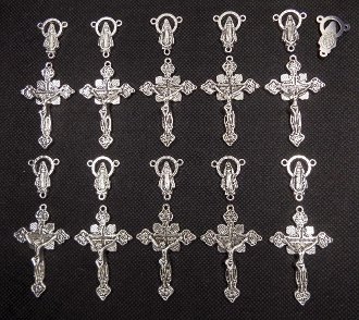 Beautiful 10 sets Rosary Part Antique Silver Crucifix and centerpiece