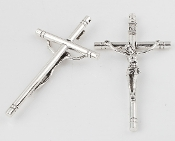 "10/Pc Large 4"" x 2 1/4"" Antique Silver finish Catholic Crucifix Cross Largest selection of inexpensive Rosary supplies on the web"