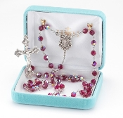Round 6mm RUBY Swarovski Crystal Sterling Silver Rosary. Our Catholic Rosaries all have 100% sterling silver parts-pins, chains, medals, crucifixes and clasps. Exclusive designed center and crucifix in sterling silver. Velvet box, USA. HMH