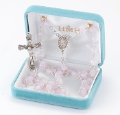 Round 6mm Rose Opal Swarovski Crystal Sterling Silver Rosary. Our Catholic Rosaries all have 100% sterling silver parts-pins, chains, medals, crucifixes and clasps. Exclusive designed center and crucifix in sterling silver. Velvet box, USA. HMH