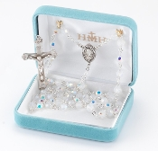Round 6mm Opal Swarovski Crystal Sterling Silver Rosary. Our Catholic Rosaries all have 100% sterling silver parts-pins, chains, medals, crucifixes and clasps. Exclusive designed center and crucifix in sterling silver. Velvet box, USA. HMH
