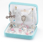 Swarovski Crystal Pink Murano Glass Sterling Silver Rosary. Our Catholic Rosaries all have 100% sterling silver parts-pins, chains, medals, crucifixes and clasps. Exclusive designed center and crucifix.Velvet box, USA. HMH