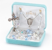 Swarovski Crystal BLUE Murano Glass Sterling Silver Rosary. Our Catholic Rosaries all have 100% sterling silver parts-pins, chains, medals, crucifixes and clasps. Exclusive designed center and crucifix.Velvet box, USA. HMH