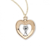 "Beautiful Two-tone heart with a chalice in the center 18"" chain First Holy Communion Gifts"