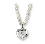 "Beautiful Freshwater Pearl First Communion Necklace with Heart Chalice 16"" chain First Holy Communion Gifts"
