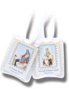 Catholic Brown Scapular with Image Sacred heart of Jesus Our Lady of Mt Carmel.Laminated BROWN SCAPULAR WITH SACRED HEART OF JESUS