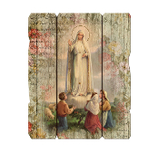 OUR LADY OF FATIMA VINTAGE Laser cut wood wall PLAQUE--