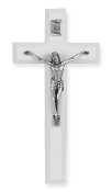 "7"" White Wood Cross Antiqued Silver Plated Corpus ...Wall Crucifix. (Boxed)"