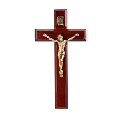 "7"" DARK CHERRY WOOD CROSS WITH ANTIQUE SILVER CORPUS ...Wall Crucifix. (Boxed)"