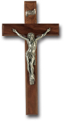 "12"" WALNUT CROSS WITH PEWTER CORPUS Wall Crucifix...12"" Cross with REAL Genuine Pewter Corpus. Made from Furniture Grade Wood (Comes Gift Boxed)"