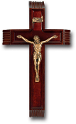 "12"" Dark Cherry Sick Call Set with Museum Gold Plated Corpus Wall Crucifix...Made from Furniture Grade Wood (Comes Gift Boxed)"