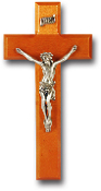 "9"" NATURAL CHERRY CROSS WITH PEWTER CORPUS Wall Crucifix..Cross with REAL Genuine Pewter Corpus. Made from Furniture Grade Wood (Comes Gift Boxed)"