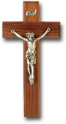 "9"" WALNUT CROSS WITH REAL PEWTER CORPUS Wall Crucifix..Cross with REAL Genuine Pewter Corpus. Made from Furniture Grade Wood (Comes Gift Boxed)"
