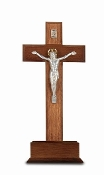 "10"" STANDING WALNUT WOOD CROSS WITH SILVER CORPUS...10"" Standing CRUCIFIX Cross on Base with Silver Plated ""Salerni"" Corpus. Made from Furniture Grade Wood (Comes Gift Boxed)"