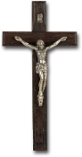 "8"" Italian Dark Wood Cross with Antique Silver Plated Corpus (Comes Boxed)"