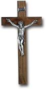 "12"" WALNUT CROSS WITH ANTIQUE SILVER Plated CORPUS Wall Crucifix..CATHOLIC Cross Walnut Cross with Antique Silver Plated Corpus. Made from Furniture Grade Wood (Comes Gift Boxed)"