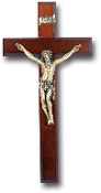 "12"" DARK CHERRY WOOD CROSS Wall Crucifix MUSEUM GOLD PLATED CORPUS....Dark Cherry Cross with Museum Gold Plated Corpus..Made from Furniture Grade Wood (Catholic Wall Crucifixes Comes Gift Boxed)"