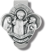 3/Pk Holy Family Genuine Pewter w Antique Finish, Hand Engraved Auto Visor Clip