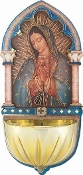 "OUR LADY OF GUADALUPE...5"" Gold Embossed Laser Cut Multi-Dimensional Holy Water Font"