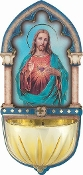 "SACRED HEART of Jesus..5"" Gold Embossed Laser Cut Multi-Dimensional Holy Water Font"