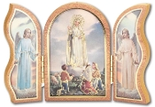 "Our Lady of Fatima...5"" x 3-1/2"" Embossed Deluxe Wood Triptych with Images on back. IMPORTED ITALY"