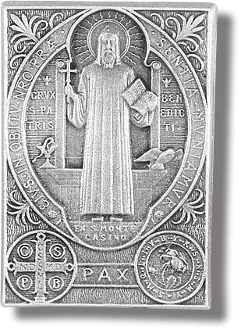 SAINT BENEDICT Genuine Pewter with Antique Finish, Hand Engraved Auto Visor Clip