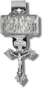 "3/Pk PARDON CRUCIFIX Genuine Pewter with Antique Finish Hand Engraved..Genuine Pewter with Antique Finish, Hand Engraved Auto Visor Clip 3.3 X 1.5"" MADE IN USA"