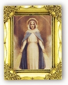 MIRACULOUS MARY.. Antique Gold Frame Glass, Gold Stamped Italy Feature Gold-Leaf Stamping. Made in Italy..FRATELLI BONELLA Milan Italy Religious Prints