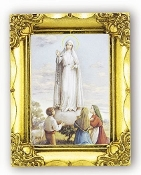 Our Lady OF Fatima... Antique Gold Frame Glass, Gold Stamped Italy Feature Gold-Leaf Stamping. Made in Italy..FRATELLI BONELLA Milan Italy Religious Prints