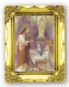 COMMUNION BOY & GIRL. Antique Gold Frame Glass, Gold Stamped Italy Feature Gold-Leaf Stamping. Made in Italy..FRATELLI BONELLA Milan Italy Religious Prints
