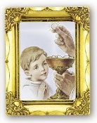 First Holy COMMUNION BOY. Antique Gold Picture Frame Glass, Gold Stamped Italy Feature Gold-Leaf Stamping. Made in Italy..FRATELLI BONELLA Milan Italy Religious Prints
