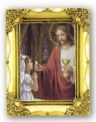 First Holy COMMUNION GIRL. Antique Gold Picture Frame Glass, Gold Stamped Italy Feature Gold-Leaf Stamping. Made in Italy..FRATELLI BONELLA Milan Italy Religious Prints