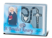 Saint Benedict Deluxe Specialty Rosary with Black Wood Beads (Comes Boxed)