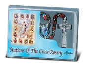 Our Lady of Fatima Specialty Rosary with Blue Crystal Beads and Fatima Water Center (Comes Boxed)