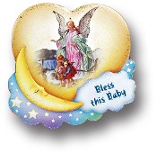 "4""x 3.5"" Guardian Angel Crib Medal (Boxed)"