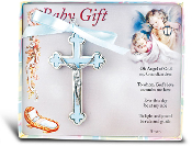 "BLUE NICKEL BOUND BABY CRUCIFIX 3.4"" Boxed Imported Italy Gift Boxed. Baptism Gifts Bay Gifts"