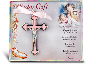 "PINK NICKEL BOUND BABY CRUCIFIX 3.4"" Boxed Imported Italy Gift Boxed. Baptism Gifts Bay Gifts"