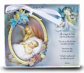 "3"" x 4.75"" Deluxe Guardian Angel WOODEN CRIB MEDAL Gift Boxed Imported Italy"