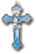 "3.5"" Blue Pearl Boy Cross (Boxed) Gift Boxed."