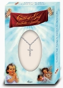 "Tiny Silver Plated Crucifix on a 13"" Chain BOXED Baptism Gifts Bay Gifts"