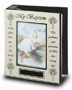 "5"" x 7"" Silver Baptism Photo Album for 4"" x 6"" Photos Gift Boxed Baptism Gifts Bay Gifts"