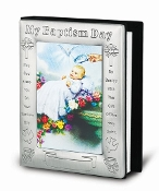"My Baptism Day Pewter Photo Album with Certificate (Boxed) 5.5"" x 7"" Overall Size Holds 72 Photos"