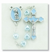 BLUE HEART SHAPED ROSARY WITH ENAMELED BLUE BOY CENTER Boxed Baptism Gifts Bay Gifts