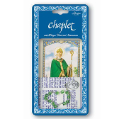 "Saint Patrick Deluxe Chaplet with Green Glass Beads Packaged with a Laminated Holy Card & Instruction Pamphlet (Overall Size 6.5"" x3.5"")"