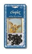 "Saint Michael Deluxe Chaplet with Black Wood Beads Packaged with a Laminated Holy Card & Instruction Pamphlet (Overall 6.5"" x 3.5"")"