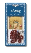 "Our Lady of Perpetual Help Deluxe Chaplet with Red Glass Beads Packaged with a Laminated Holy Card & Instruction Pamphlet (Overall Size 6.5"" x 3.5"")"